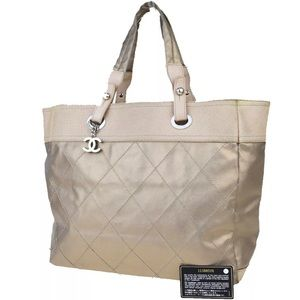 👜 CHANEL Authentic CC Coating Leather Beige